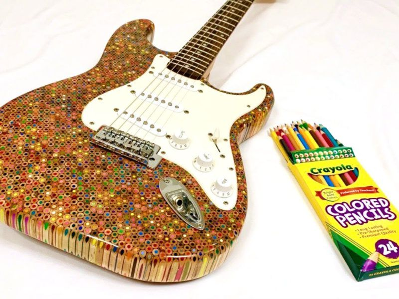 See a Guy Build a Guitar Out of 1,200 Colored Pencils