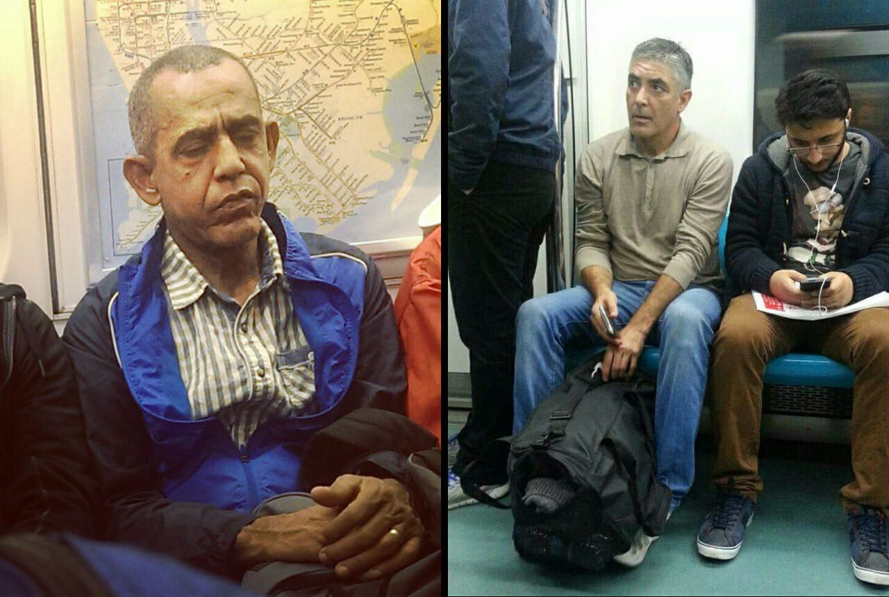 celebrity doppelgangers riding the subway