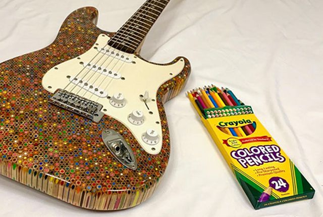 guitar made of colored pencils